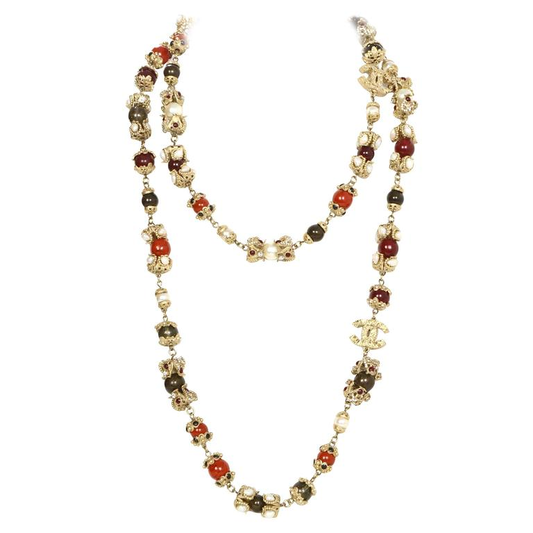 Chanel Paris Moscow Runway Bead and Pearl Necklace For Sale at 1stdibs 3ca46d5c63ad