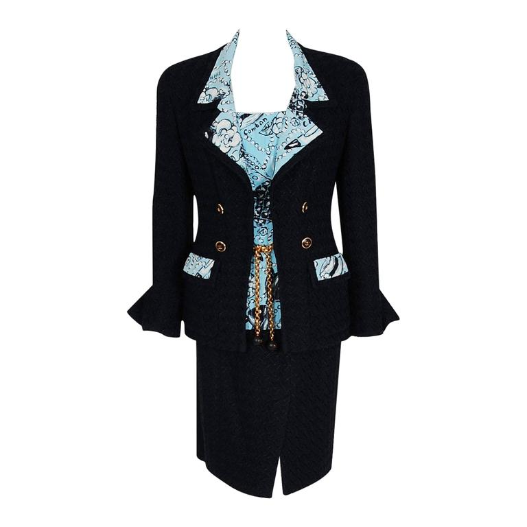 1993 Chanel Runway Black Boucle Wool & Novelty Print Silk 3-Piece Jacket Suit For Sale