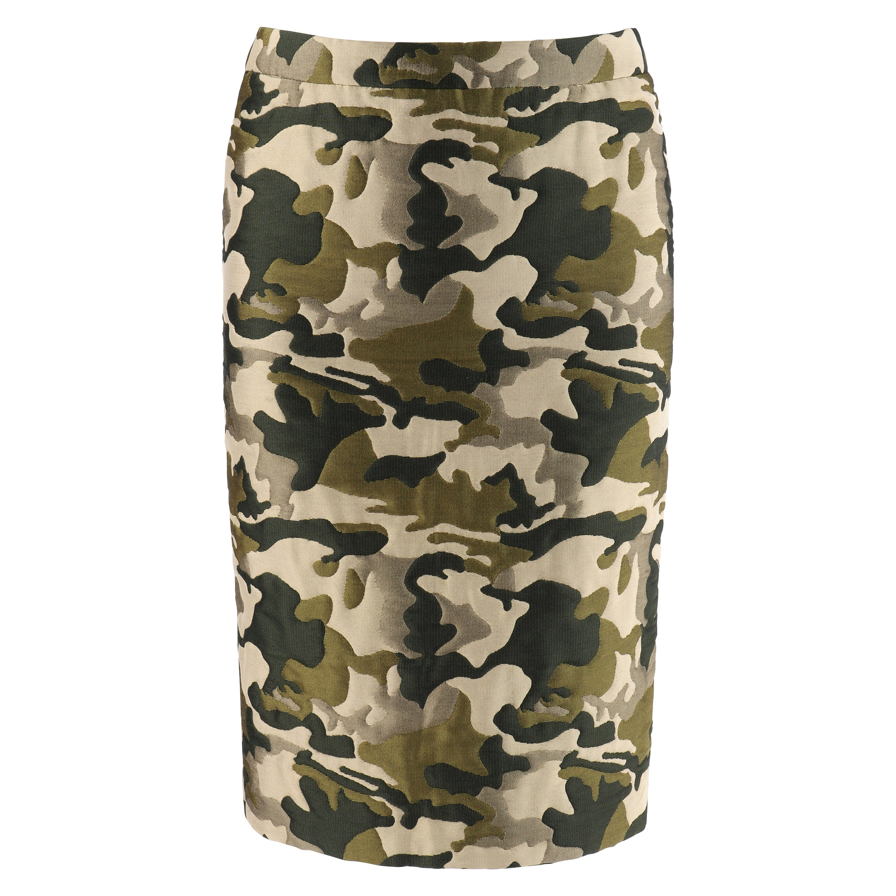 ALEXANDER McQUEEN S/S 1998 Green Camouflage Knee Length Pencil Skirt