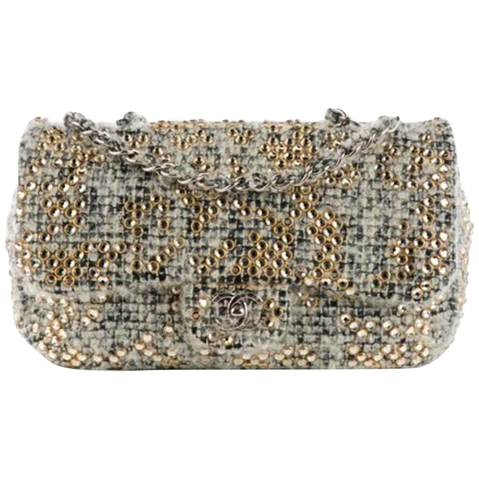 Chanel Classic Flap Limited Edition Grey Taupe Beige Wool Mohair & Swarovski Bag