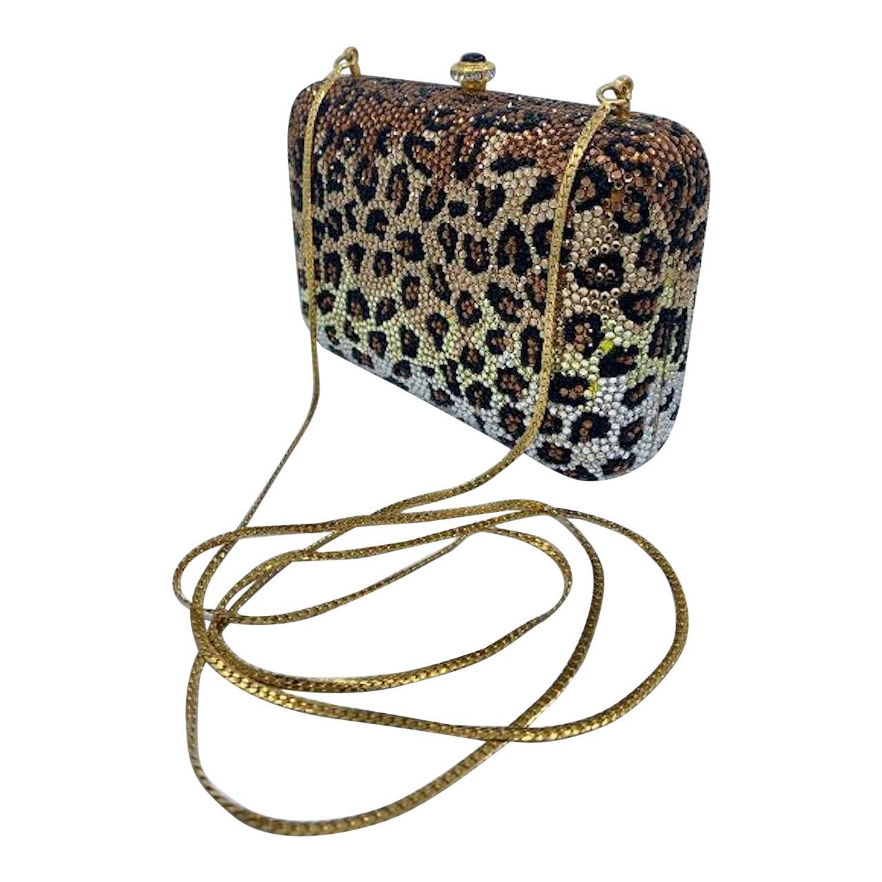 Kathrine Baumann Leopard Design Swarovski Crystal Minaudiere Evening Bag