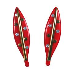Ugo Correani Stylized Leaf Earrings