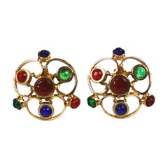 Maison Gripoix for Chanel Large  Medieval Trefoil  Poured Glass   Earclips