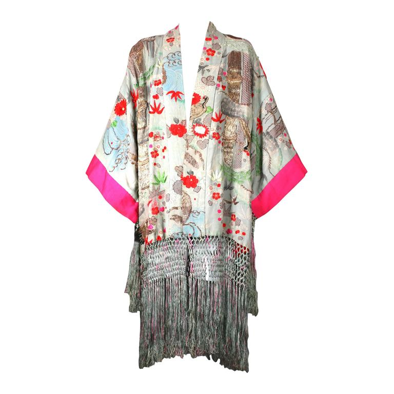 Elaborately Embroidered and Fringed Kimono