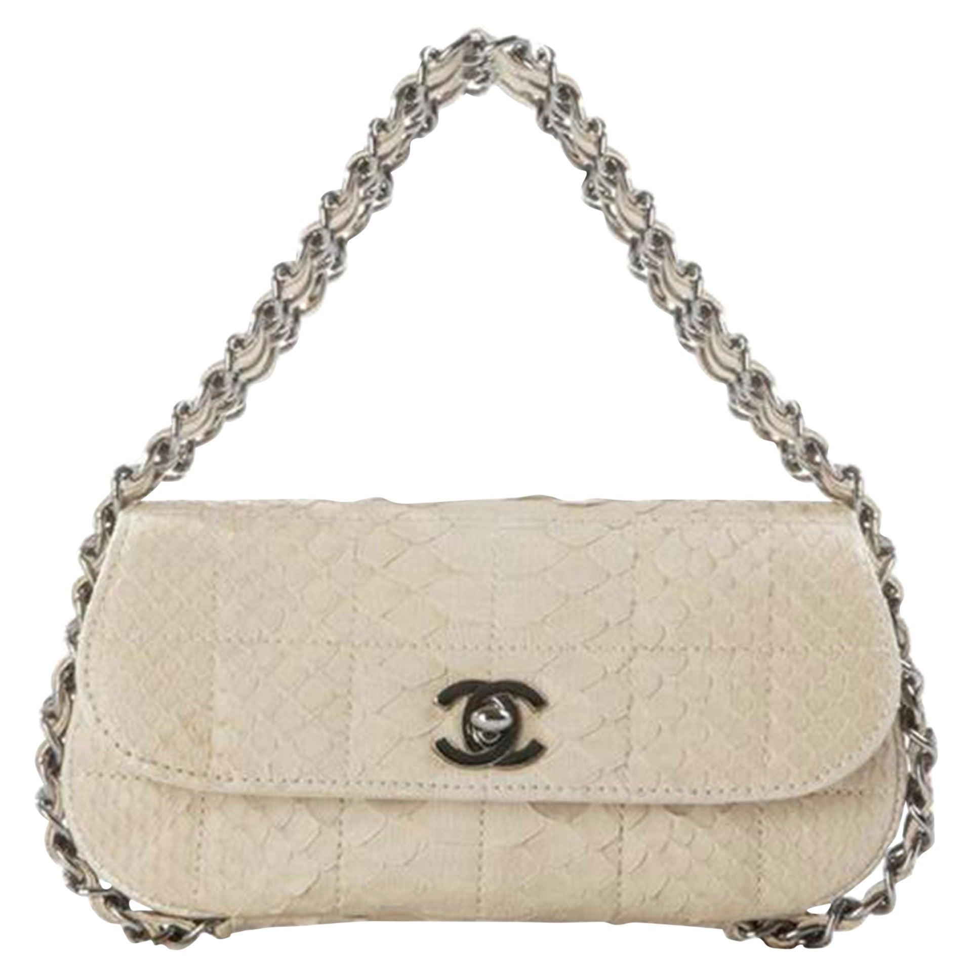 Chanel Beige Mini Flap Cream Python Mini Clutch Top Handle Flap Bag Minaudière