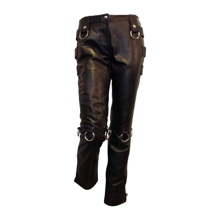 Dolce & Gabbana Black Leather Pants 1
