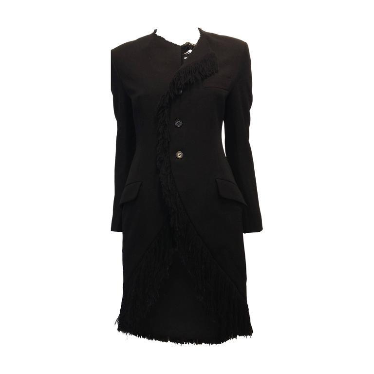Yohji Yamamoto Black Coat with Fringe