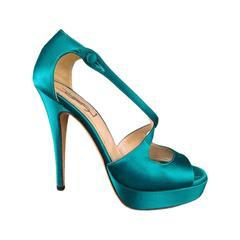 YVES SAINT LAURENT Size 6 Turquoise Silk Cross Strap -TRIBUTE 105- Sandals