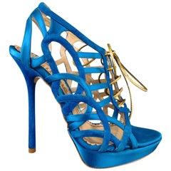 John Galliano Aqua Blue Silk and Suede Platform Gold Lace Up Platform Sandals