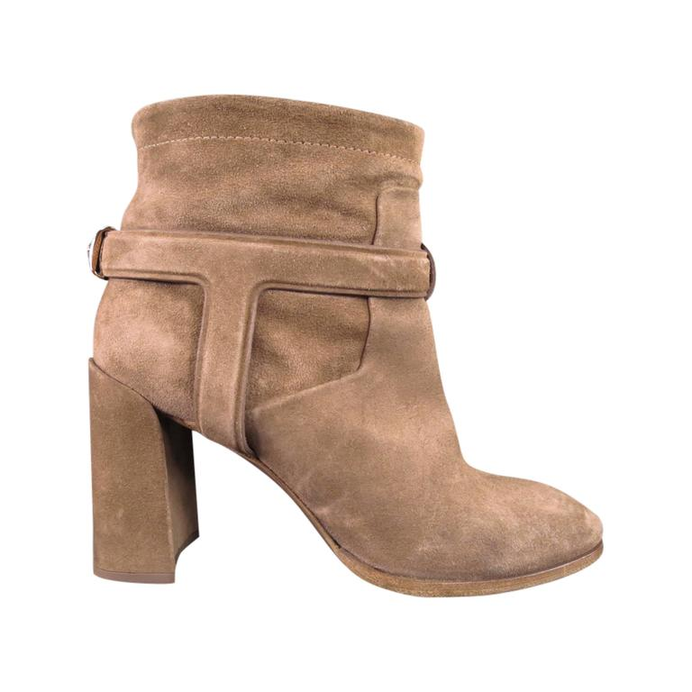 christian size 6 beige suede thick heel harness boots