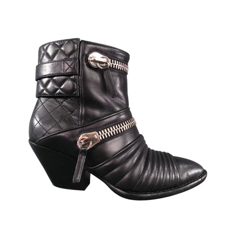 GIUSEPPE ZANOTTI Size 6.5 Black Leather Zip Detail Quilted Ankle Boots 1