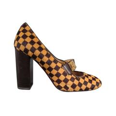 LOUIS VUITTON Size 6 Beige Brown Checkered Pony Hair Glod Buckle Mary Jane Pumps