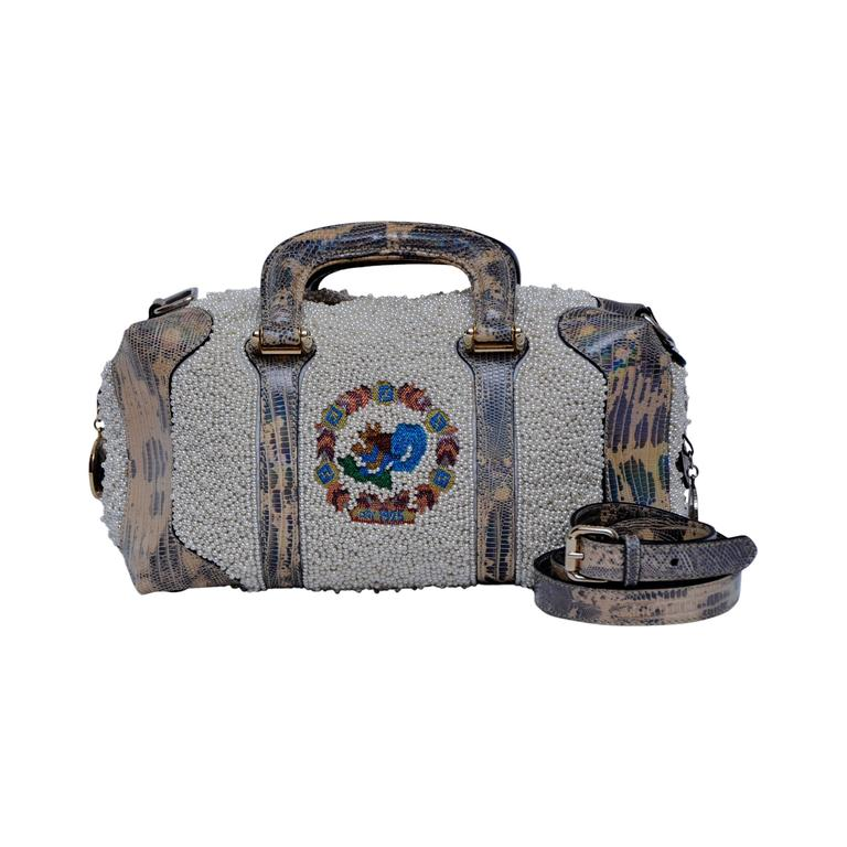 Fendi Lizard And Faux Pearls Embellished Handbag  For Sale