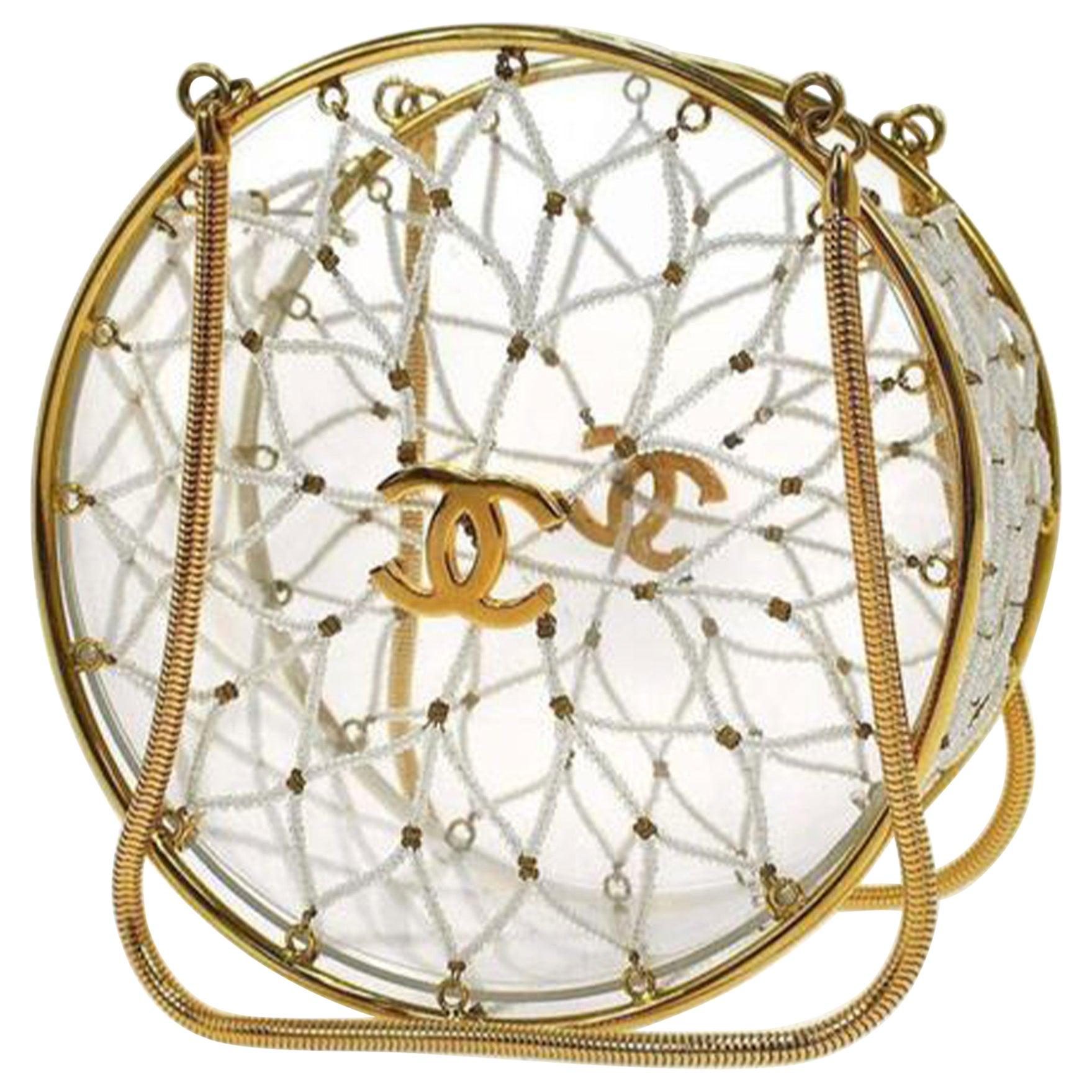 Chanel Minaudière Ultra Rare 1990 Beaded Gold Transparent Circle Micro Mini Bag