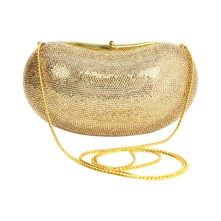 Judith Leiber Bronze Sworovski Crystal Bean Clutch Bag GHW