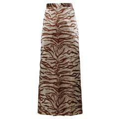 Jean-Louis Scherrer Vintage Animal Screen Print Silk Maxi Skirt