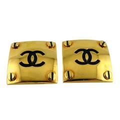 Chanel Vintage 1994 Massive Screw Stud Earrings