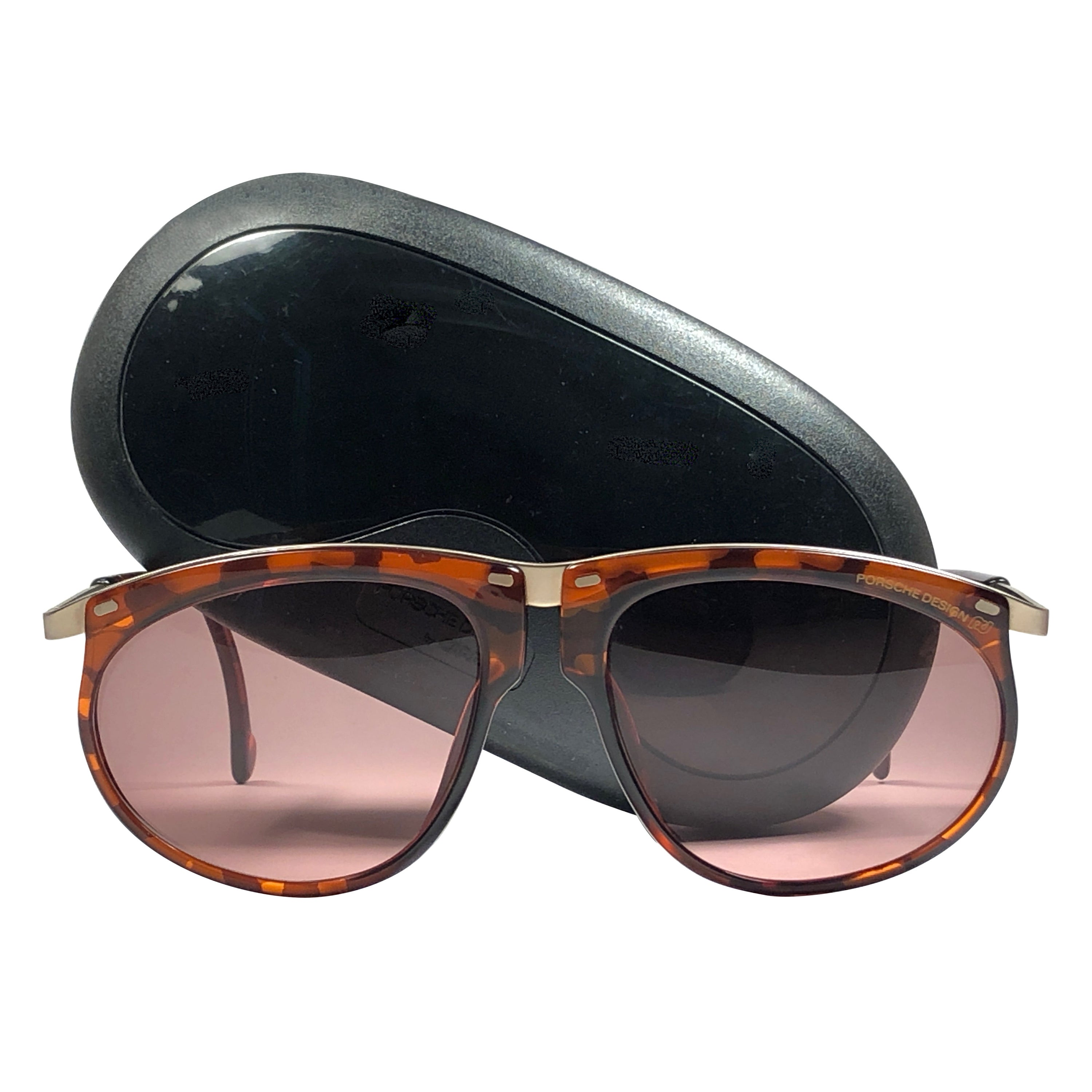 New Vintage Porsche Design By Carrera 5660 Mosaic Amber and Gold Sunglasses