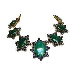 Philippe Ferrandis Malachite and Glass Pearl Necklace