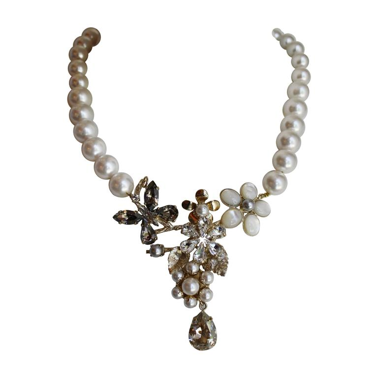 Philippe Ferrandis Glass Pearl and Swarovski Crystal Floral Motif Necklace For Sale