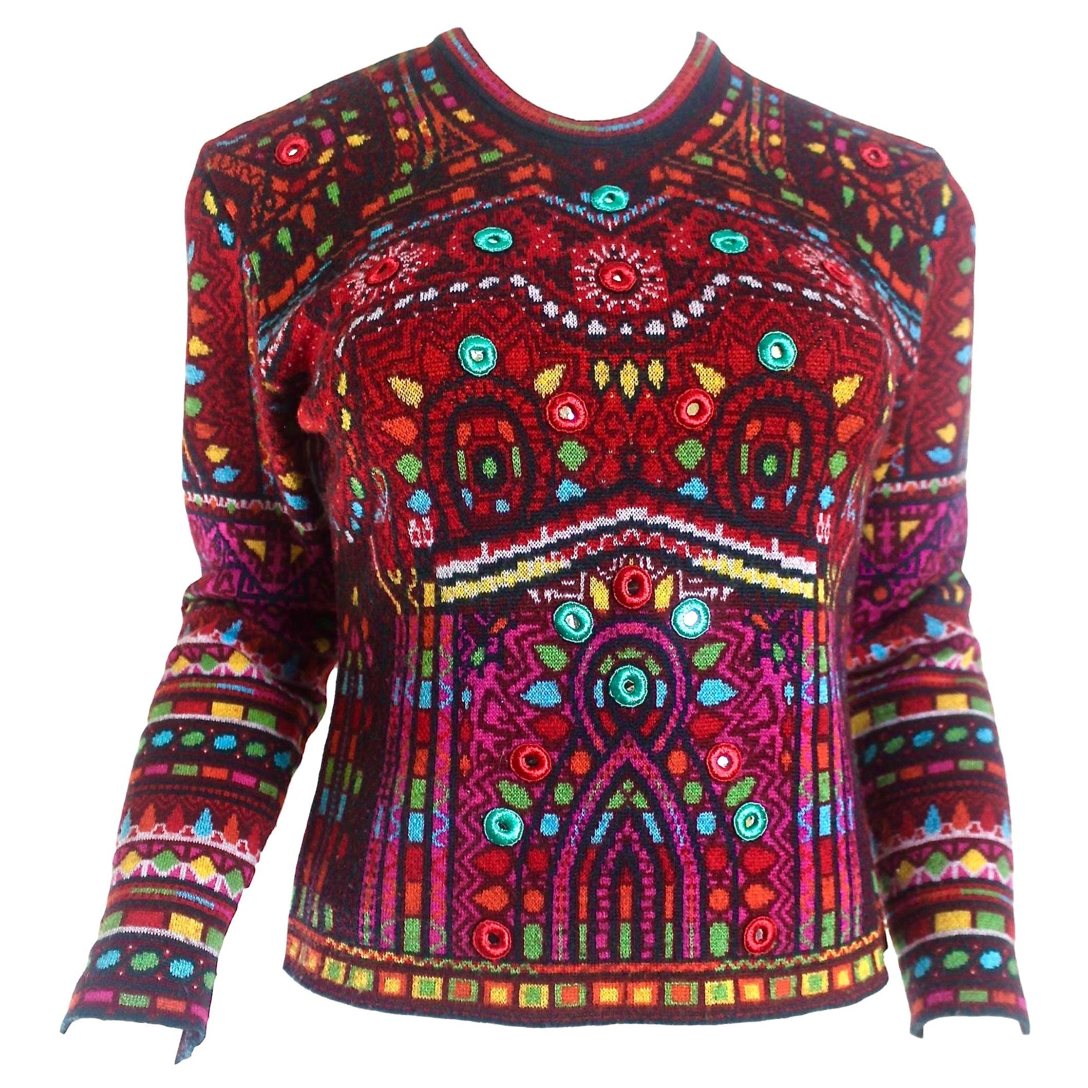 Kenzo Elaborate Indian Patterned Sweater with Sisha Mirror Decoration
