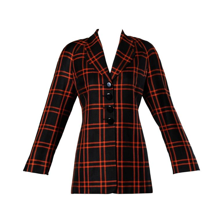 Christian Dior Vintage Silk Plaid Blazer Jacket For Sale