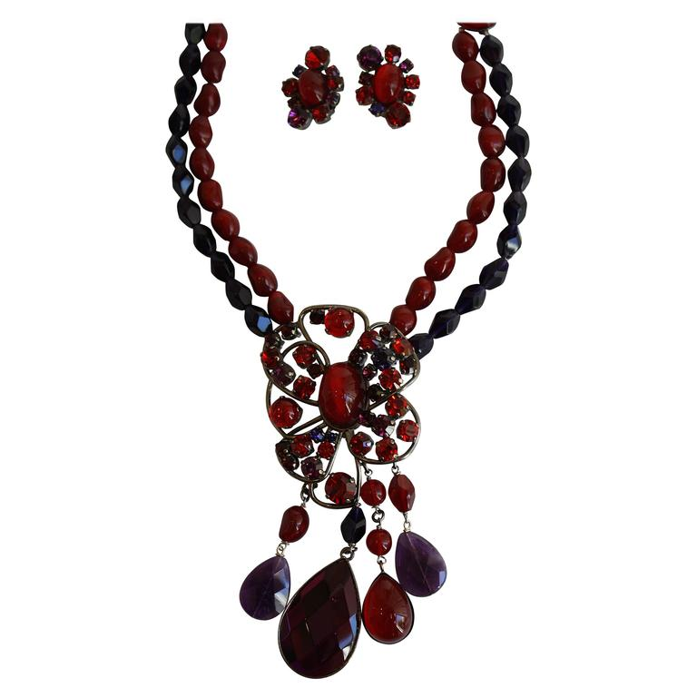 Philippe Ferrandis Gl Cabochon And Swarovski Crystal Necklace Earring Set For