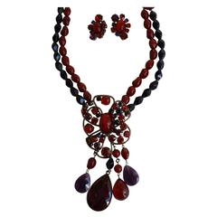 Philippe Ferrandis Glass Cabochon and Swarovski Crystal Necklace & Earring Set