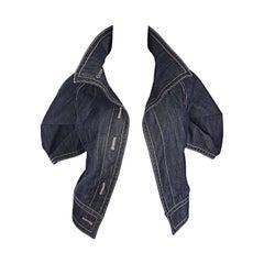 2000s Escada Dark Denim Size 38 / 8 Short Sleeve Origami Chic Blue Jean Jacket