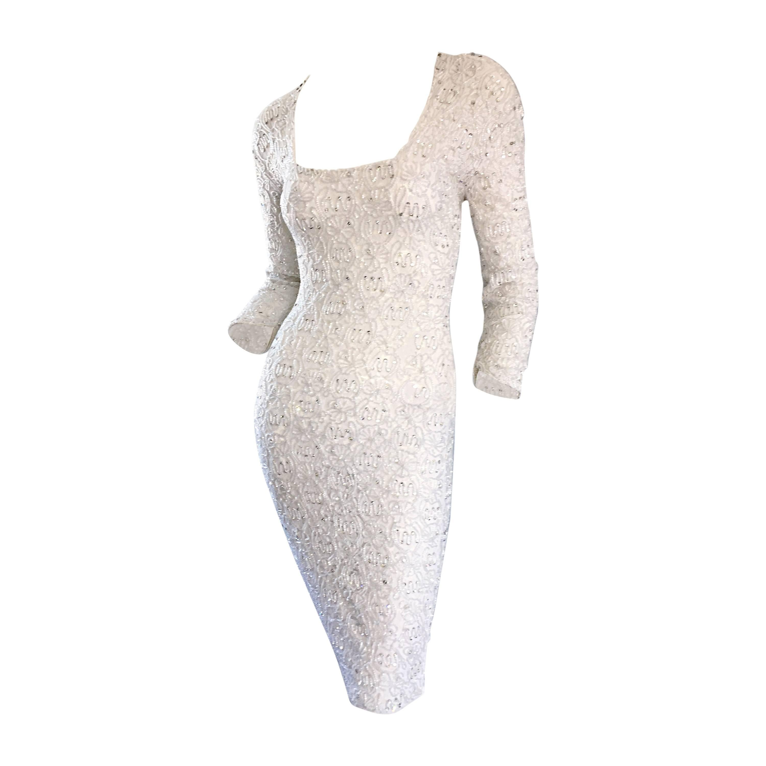 Incredible Vintage Giorgio di Sant Angelo 80s White Fully Beaded Bodycon Dress