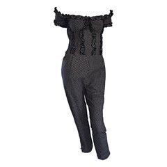 Vintage Brioini 1980s Ruffled Corset Cropped Polka Dot Jumpsuit Onesie
