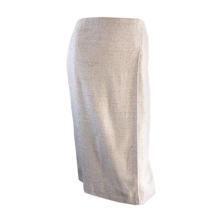 Chanel Ivory / Cream / Beige Silk Essential Vintage Wrap Skirt