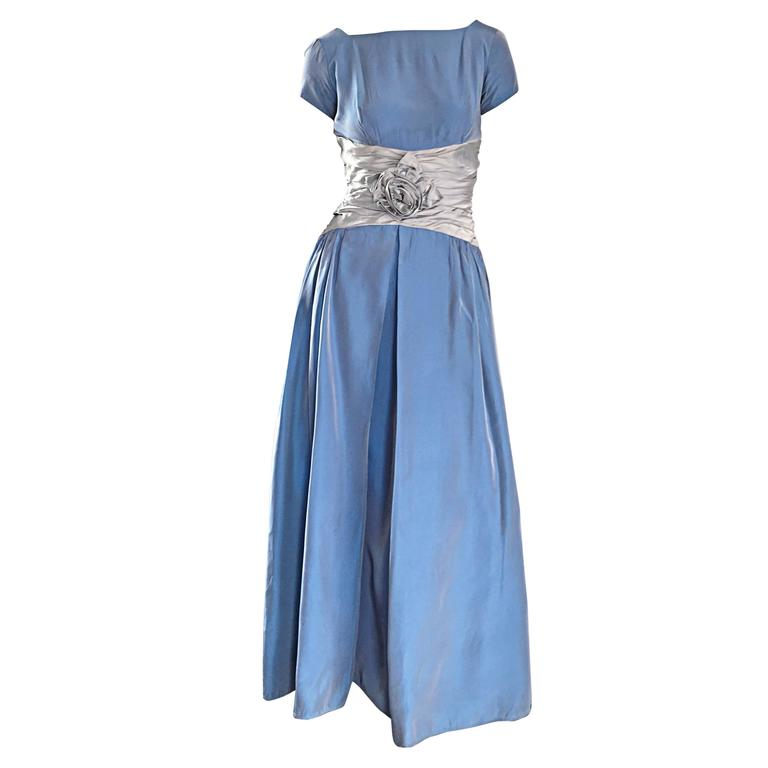 "Beautiful 1950s 50s Blue + Silver Silk Taffeta "" Cinderella "" Cocktail Dress 1"