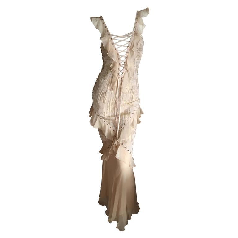 Christian Dior by John Galliano Romantic Gold Silk Corset Lace Dress  1