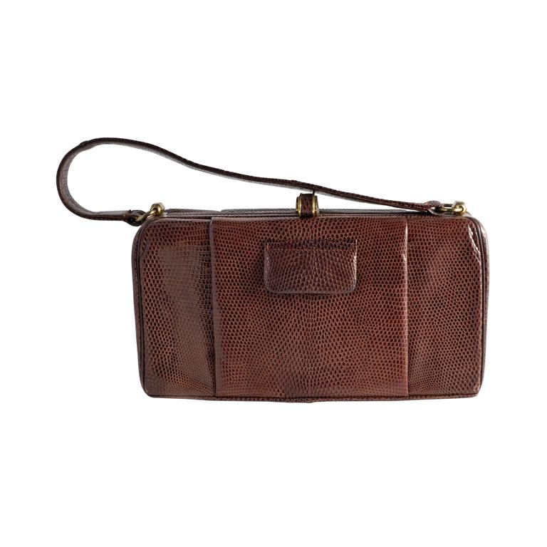 1stdibs Original 1940s Large Burgundy Crocodile Skin Clutch Bag V9U9W