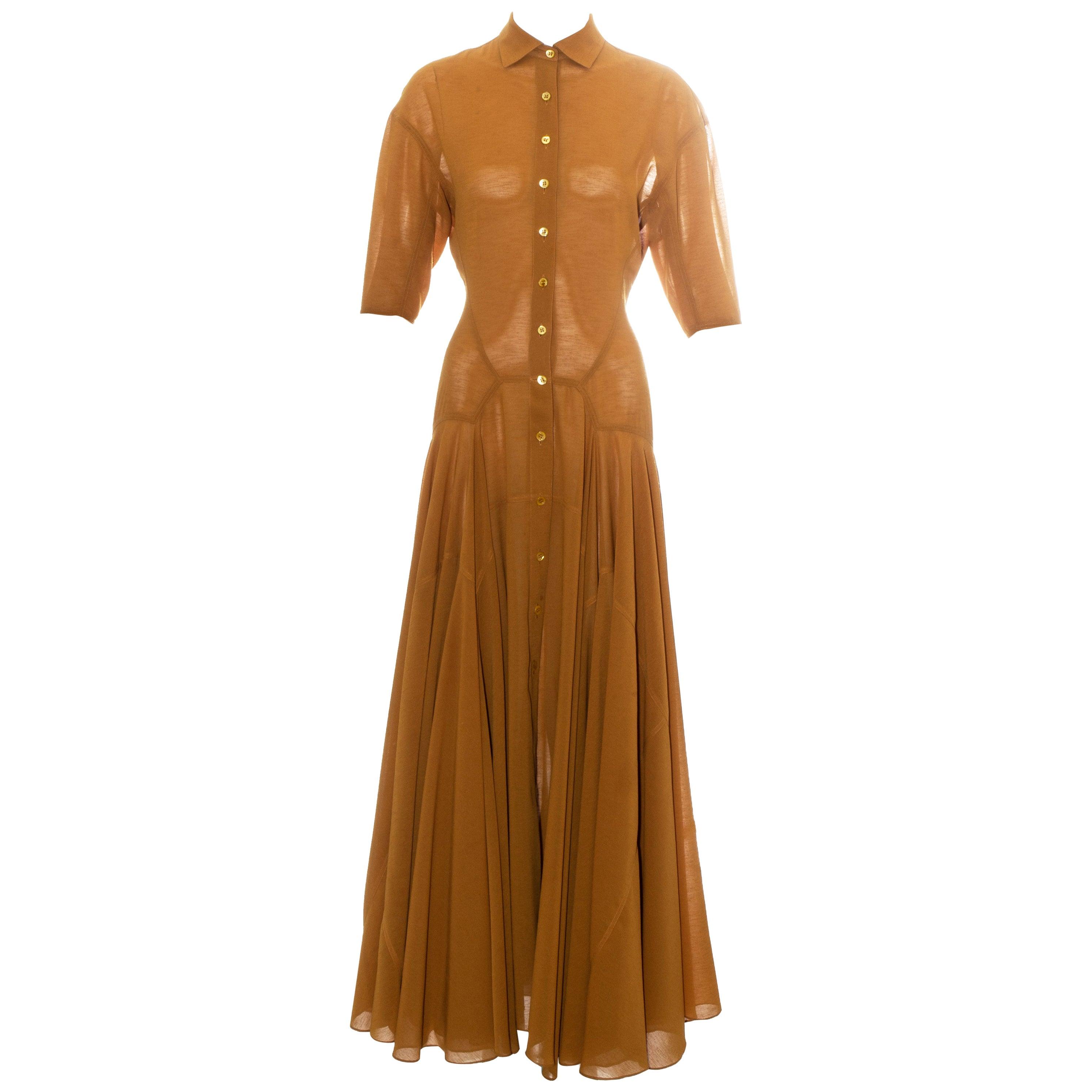 Azzedine Alaia bronze viscose maxi shirt dress, ss 1990