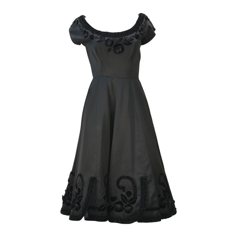 1950s Black Satin Party Dress with Velvet Trim and Floral Detail