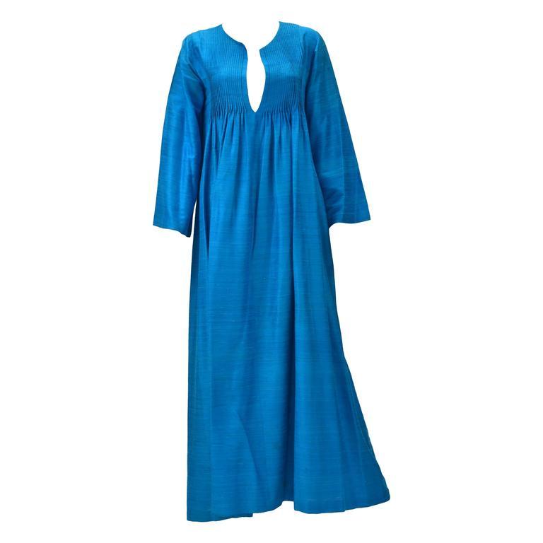 Marti Blue Silk Kaftan, 1970s