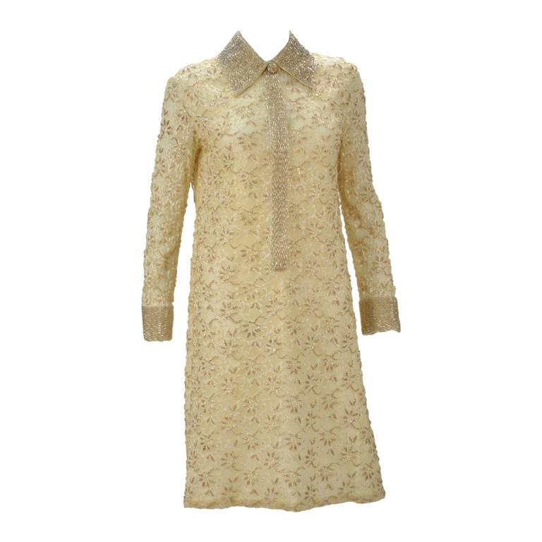 1960s Valentina LTD Cream Beaded Long Sleeve Cocktail Dress  1
