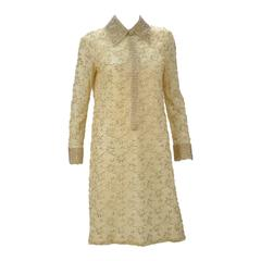 1960s Valentina LTD Cream Beaded Long Sleeve Cocktail Dress