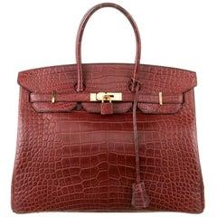 Hermes NEW Birkin 35 Burgundy Alligator Exotic Top Handle Satchel Tote Bag W/Box