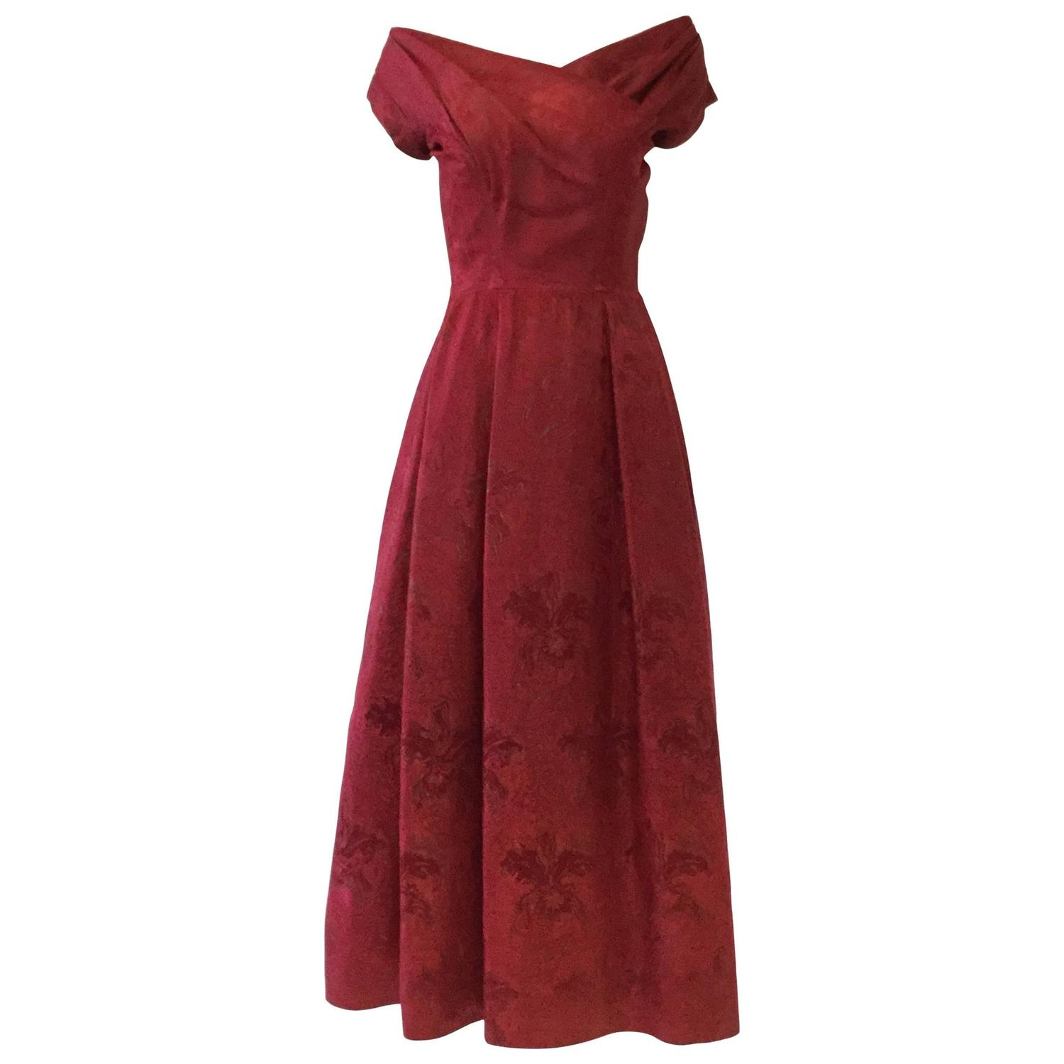 Late 1950s Yves Saint Lau For Dior Ball Gown At 1stdibs