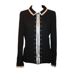 2004 Chanel Black 4-Pocket Jacket with White Ribbon Trim and Pearls - 40