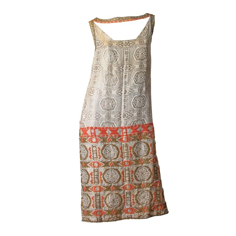 Embroidered 1920s Lamé Dress