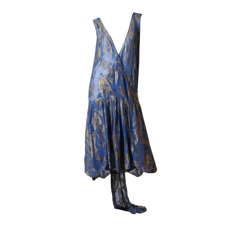 1920S Dusty Blue Silver Lamé Silk Fil Coupé  Low Cut Cocktail Dress