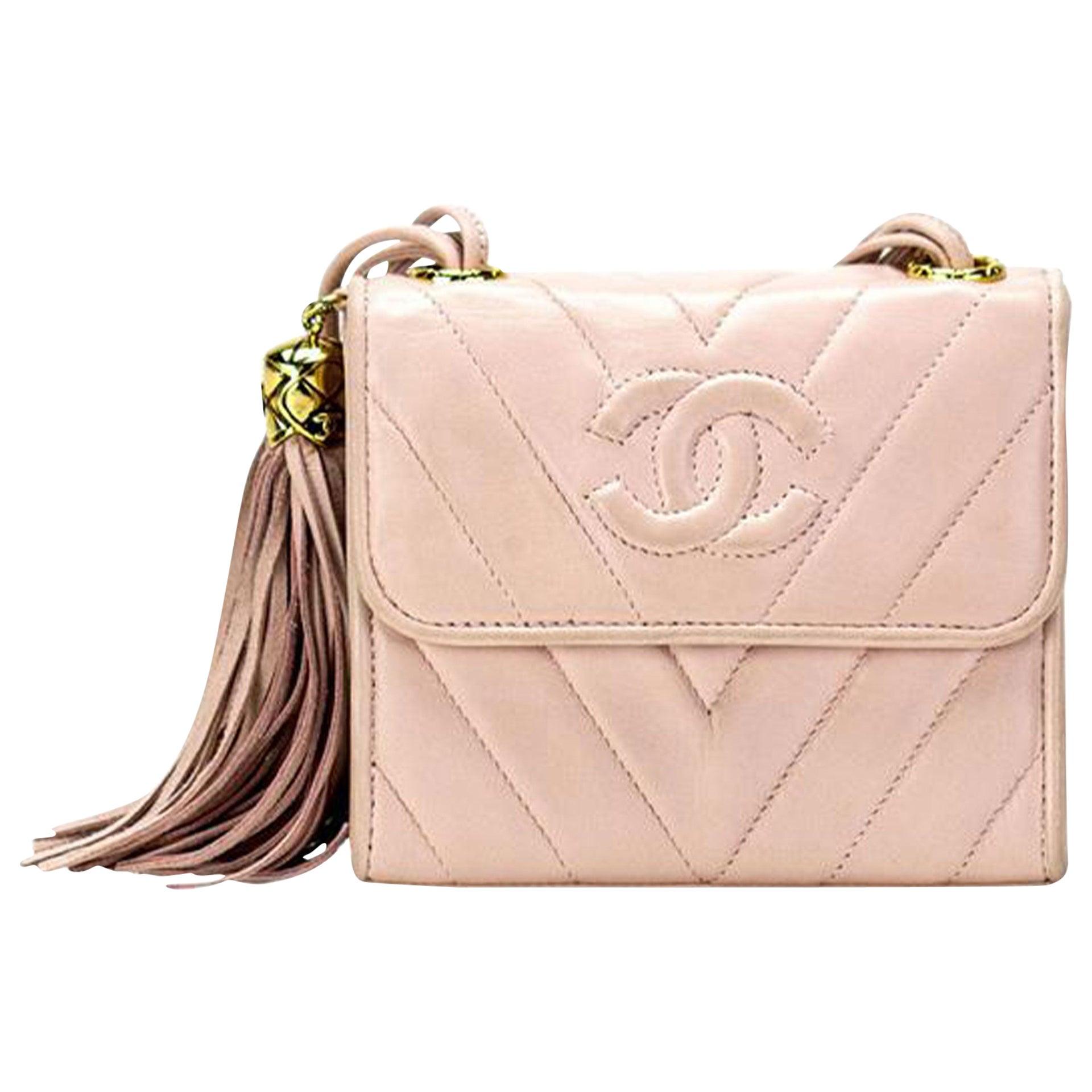 Chanel Classic Flap Vintage 90's Soft Chevron Fringe Pink Lambskin Leather Bag