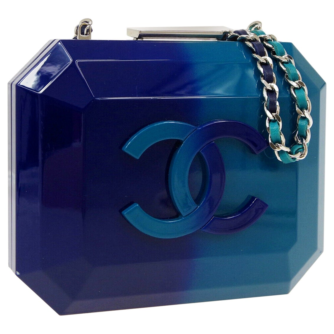 Chanel Runway Blue Ombre Resin Silver Leather Evening Clutch Shoulder Box
