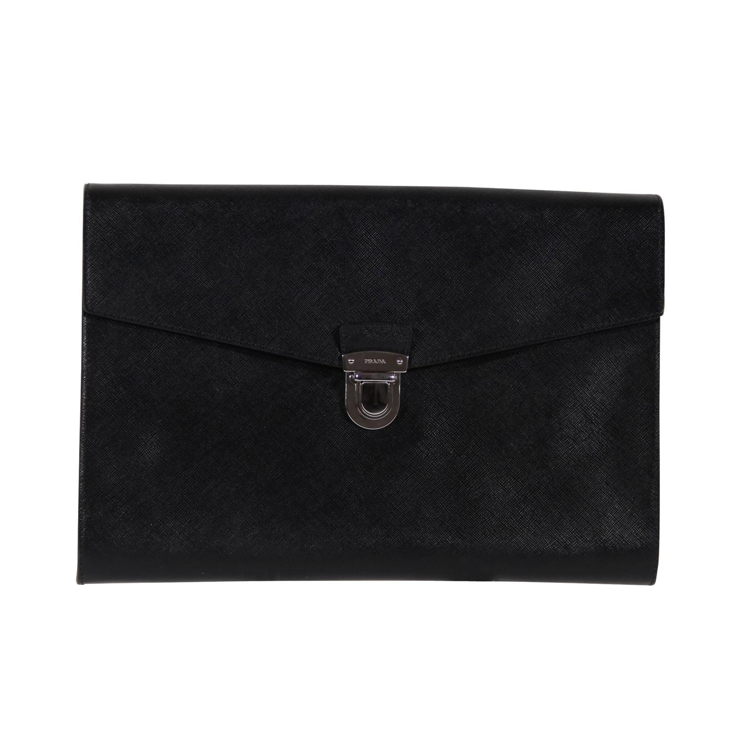 prada black fur clutch bag
