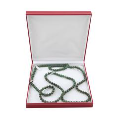 VINTAGE Italian 1980s Green JADE Beads LONG NECKLACE 18 K Gold Closure