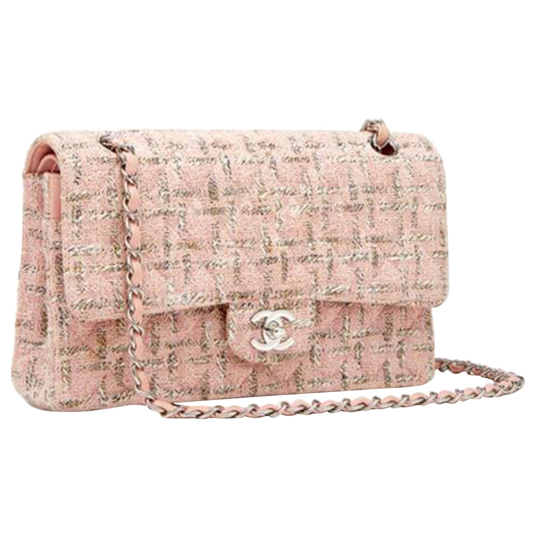 Chanel Classic Flap 2.55 Baby Pink Tweed Shoulder Bag